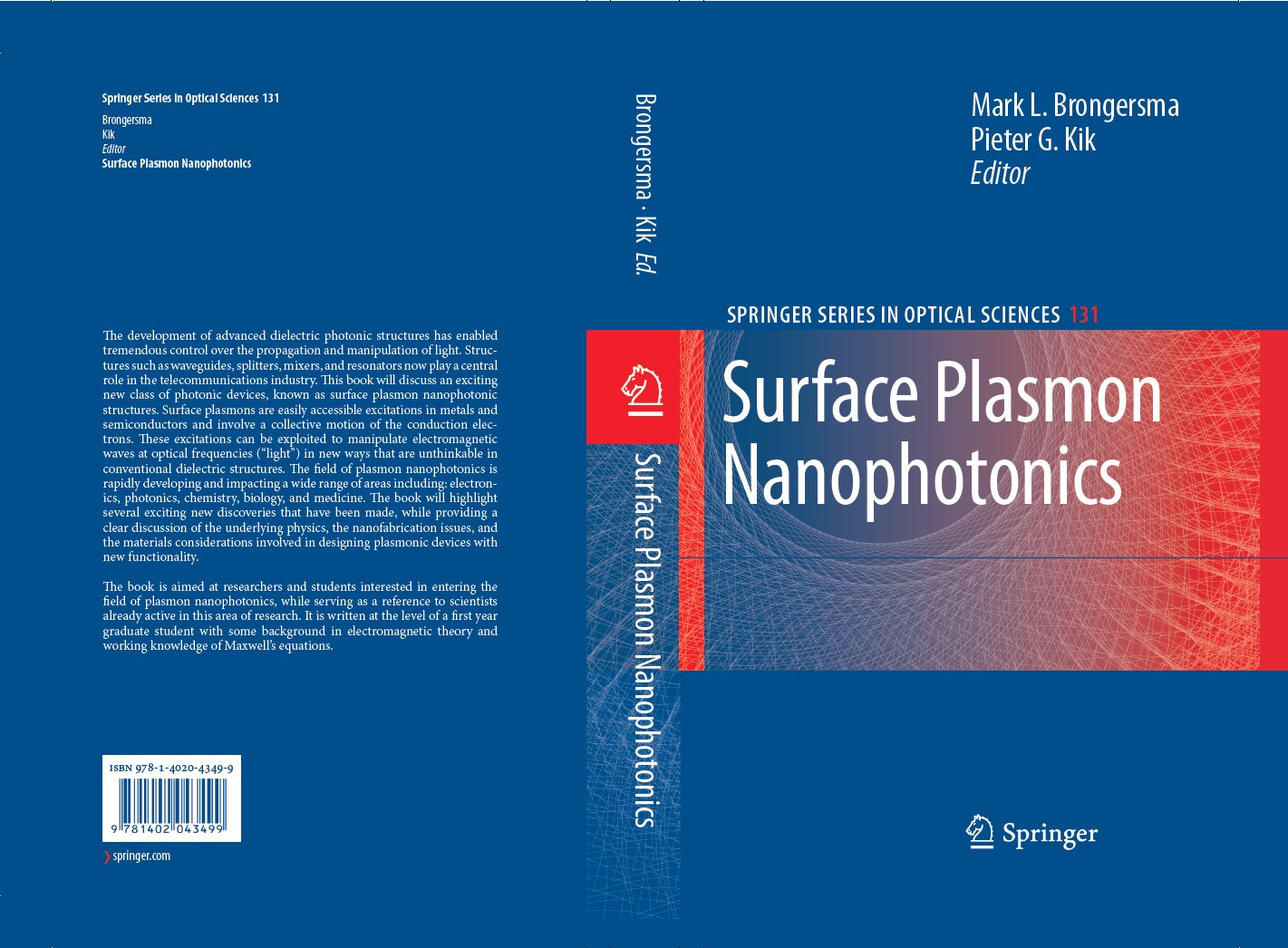 Surface Plasmon Nanophotonics - Cover